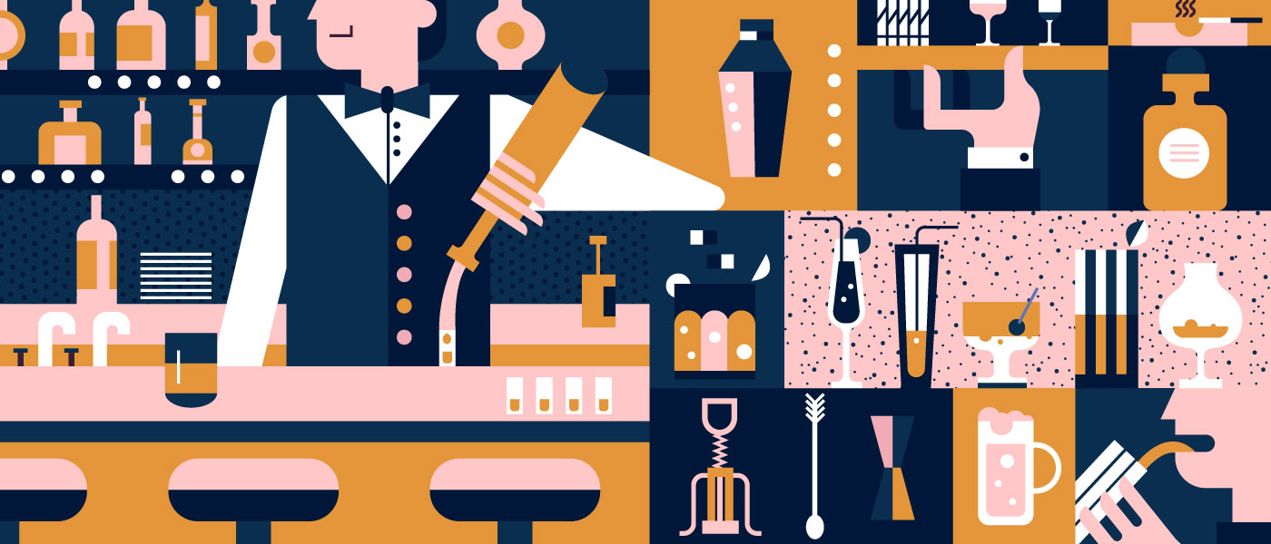Illustration of bar with drinks