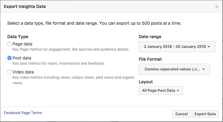 exporting Facebook data